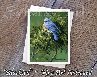 Wildlife Note Cards - Bird Note Cards - Bluebird Cards - Bluebird Prints - Wildlife Art - Bluebird Art - Bird Prints - Wildlife Stationary