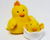 Plush mama hen and baby chick in egg stuffed toy