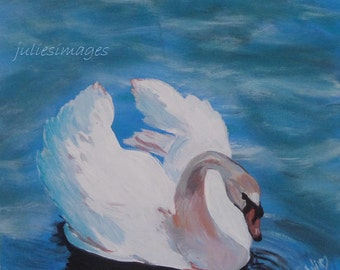 "Super Special Clearance Sale****Elegance in White...Original Acrylic Painting...Beautiful Swan on Water...Canvas 12"" x 12"" (30cm x 30cm)"