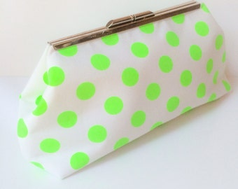 Neon Green Polka Dot Clutch