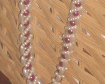 Vintage NATIVE WOVEN pearl bead NECKLACE