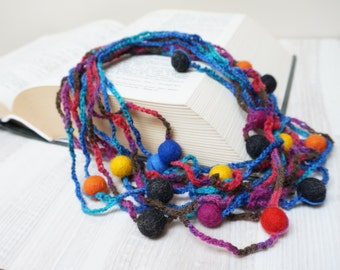Felt ball necklace felted jewelry Beadwork crochet under 30 dollars blue purple yellow orange red black fairy ooak multistrand textile