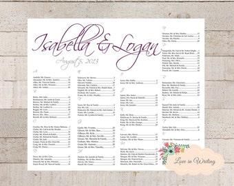Wedding Event Seating Chart, Custom Seating Chart- Printable Digital File