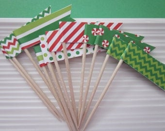 Christmas / Holiday / Red and Green patterned / cupcake toppers / food picks / party picks / set of 24