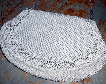 Vintage Purse, White, Silver,  Handbag, Chain Handle, Formal, Small, Fancy, White Purse, Clutch