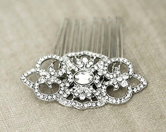 MARCELLE - Vintage Bridal Hair Comb, Wedding Hair Accessory, Crystal Hair Comb, Bridal Hair Piece ,Hair Clip