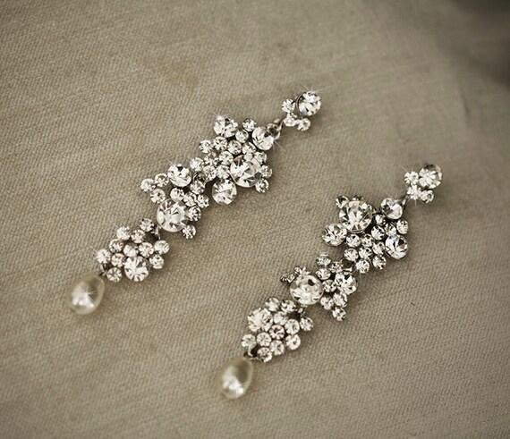 Yvette Crystal Chandelier: YVETTE Wedding Jewelry Crystal Earrings By Lolaandmadison