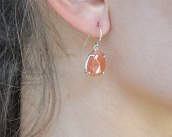Pink Moonstone--Sterling Silver Earrings---Moonstone Earrings--Peach Earrings