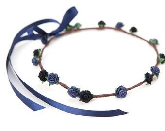 Navy & Midnight Blue Rose Flower Crown (3-5yrs) ... WEDDINGS, FLOWERGIRLS, BRIDESMAIDS