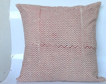 Chevron Stripes Red on White  Block Print Pillow cover, throw pillow