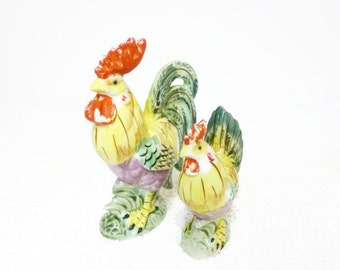 Vintage Rooster and Hen Ceramic Figurines