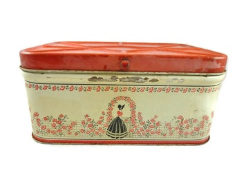 Vintage Breadbox Red Rustic Silhouette Lady 1940s