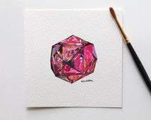 Watercolors Paintings Original, Original Watercolor, Original Watercolour, watercolor gem, geometric watercolor, miniature painting,