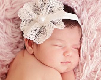 Ivory Lace Flower baby Headband, Pearl Headband, Baby headband, Elastic Headband, Photo Prop, infant headband, baby girls headband, girls