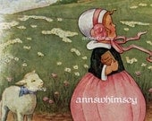 Nursery Rhyme Print - Mary Had a Little Lamb - RESTORED Antique Art - RESTORED Vintage Art - Great Print for Child's Room