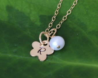 Gold fill Flower initial necklace, Silver Flower Necklace, Tiny Flower girl necklace, Initial Flower, personalized initial Flower Neckalce