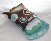 Diaper and Wipe Clutch - Brown with Blue and Aqua Circles