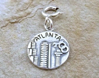 Sterling Silver Dbl Sided Atlanta Coin Charm on 8mm Spring Ring Fits European and Traditional Charm Bracelets -3088