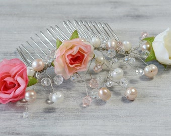Crystal Bridal Comb, Bridal White Pink Flowers hair comb, Wedding hair accessories, Bridal Headpieces, Roses comb bridal