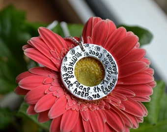 Mothers floral quote sterling silver washer earth nature