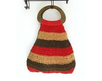 Vintage Crochet Bag , Boho Bag with Wooden Handles.