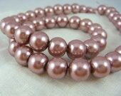"Beads - Glass Pearls - Mauve Glass Pearls - 8mm Pearls - 50 Beads - 16"" Strand"