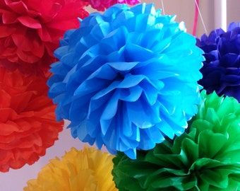 Tissue Paper Pom Poms set of 16 -Mexican Fiesta decor//Cinco de Mayo//Weddings//Decoration