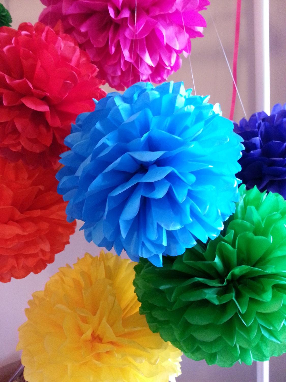 tissue paper pom poms set of 16 mexican fiesta decor cinco. Black Bedroom Furniture Sets. Home Design Ideas