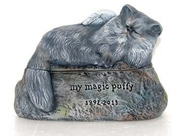 Ceramic Engraved Painted Persian, himalayan, long haired Cat Cremation Urn - hand made pet urn