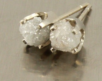 14K White Gold Stud Earrings with Rough Diamonds - Natural Unfinished Raw Stones - White Diamonds - Gold Post Earrings
