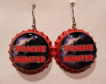 Zombie Hunter bottle cap earrings