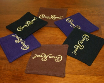 Crown Royal Coaster Set Black, Maple and Classic Purple Fabric Coaster Set of 6 Crown Royal Gift Set Secret Santa Stocking Stuffer Guy Gift