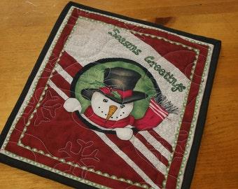 Snowman Christmas Mug Rug, Snack Mat, Fabric Coaster, Pot Holder, Trivet Christmas Gift, Gifts Under 10 Secret Santa Christmas in July CIJ