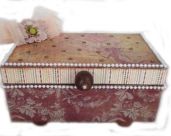 Keepsake Box, Jewelry Box, Embellished Box, Decorative Box, Handmade Jewelry Box
