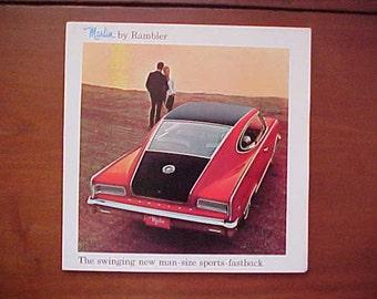 1965 Marlin By Rambler Original AMC Color Sales Brochure Foldout In Nr Mint  Condition Scarce Piece