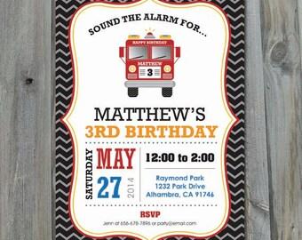 Fire Truck Birthday Invitation, Custom, Personalized, DIY, Party Printable, Fire Engine Invitation, JPEG, PDF, Digital File, Fireman