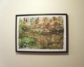 Landscape painting oversized original impressionistic 17x24 inch watercolor batik painting on rice paper of a Japanese garden, distressed