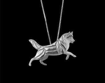 Siberian Husky Leader - sterling silver pendant and chain.