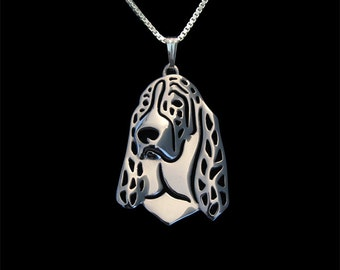 Basset hound - sterling silver pendant and necklace.