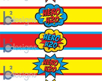Superhero Waterbottle Labels • Hero H20 • PC Color • INSTANT DOWNLOAD