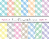 Gingham Digital Paper Plaid Check Pastel Large shabby chic pattern pink gray yellow blue printable scrapbook baby big instant download