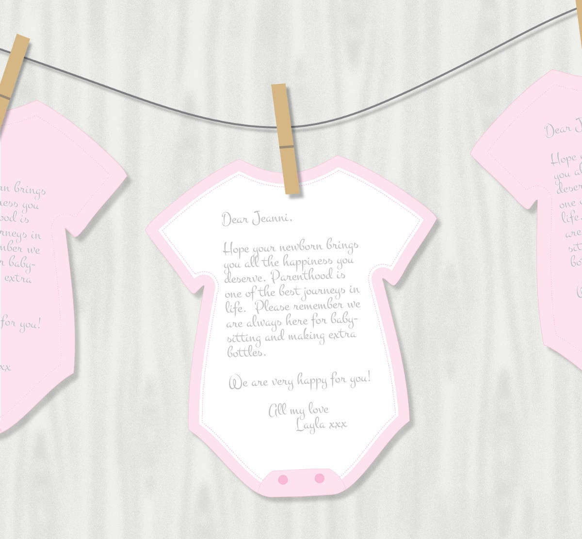 Printable Onesie Cutout Wishes for Baby Girl by ...