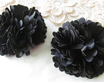 Black Fabric Flower / Hair Flower NO CLIPS / Satin Flower / 2pc