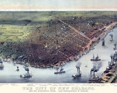 New Orleans Louisiana 1885 Bird's Eye View Panoramic Map Digitally Remastered Poster Digital Download