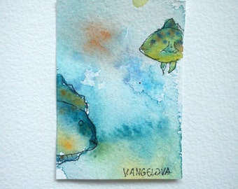 Aceo watercolor, Aceo painting, Original aceo, Ocean aceo, Fish aceo, Hand made aceo, Art aceo, Hand painted aceo, Artist trading card, ATC