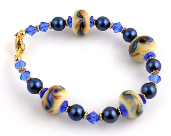 Blue and White Beaded Lampwork Bracelet, Beadwork Bracelet, Tennis Bracelet, Gifts, Fashion Jewelry, Career Wear, Valentine Day