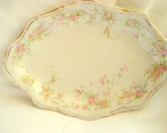 Vintage Shabby Platter Homer Laughlin Hudson Tiny Serving Dish Pink Floral Shabby Cottage Chic