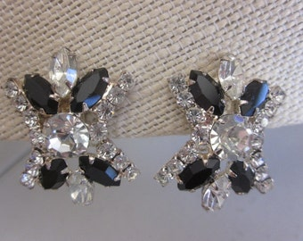 Vintage Black and Clear Austrian Crystal Clip on Earrings in Silver Setting, Wedding, Formal, Bridal