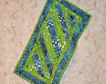 Blue and Green Table Runner 14 by 27 inches