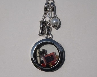 Glass Floating Locket with Custom Charm and Dangles